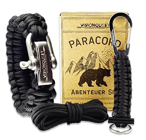 Visionquest Outdoor & Survival Paracord Armband für Männer & Schlüsselanhänger | Ersatzseil | Flechtanleitung | Feuerstahl
