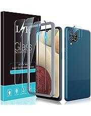 Le^K 4-pack Screen Protector compatibel met Samsung Galaxy A12 met 2 Pack gehard glas en 2 Pack Camera Lens Protector - 9H Hardheid Bubble Gratis Uitlijning Frame Screen Beschermende Film