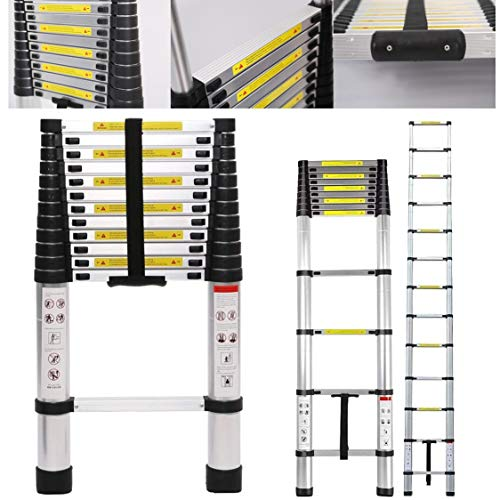 12.5FT Telescoping Ladder Stable Aluminum Telescopic Extension Ladder One-Button Inward Sliding Retraction,330 Pound Capacity,Multi Purpose (12.5 Feet)