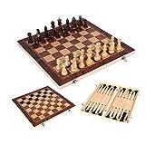 Ajedrez Juego de ajedrez 3 en 1 Cheques de ajedrez de madera Conjunto de backgammon Detalles plegables con almacenamiento para piezas Juego de ajedrez para niños y adultos (niños de 4 años) Regalo