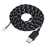 2m/6.56ft Mouse USB Cable,Mouse Extension Cord Line Replacement,with 5-pin Connector,for Steelseries Kana, Braided Material,Black+White/Black+Orange (Optional)(Black+White)