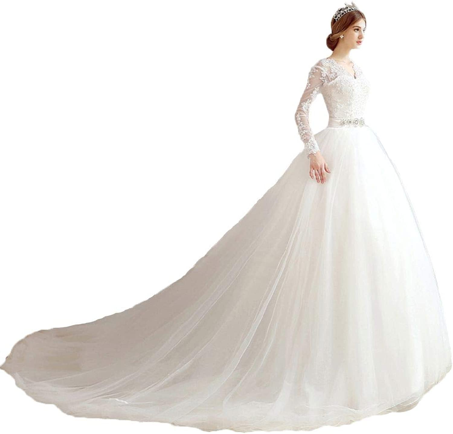 Snowskite Women's Elegant VNeck Aline Lace Ball Gown Wedding Dress
