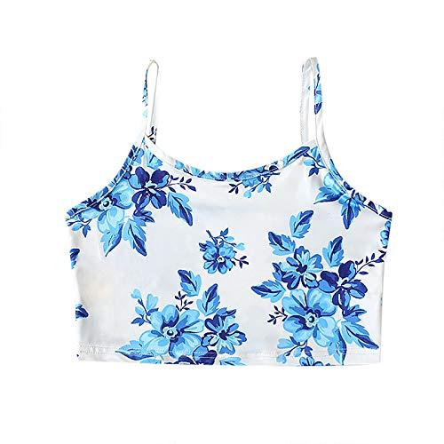 JOILL Chaleco de mujer con estampado de flores, sexy, sin mangas, para verano, básico, para fitness azul M
