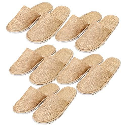 Daliuing 5 Paia, Pantofole USA e Getta USA e Getta, Pantofole di Lino/Ciabatte Monouso per Hotel/Pantofole da Spugna/Ospiti Pantofole/Sauna/Benessere/Size M