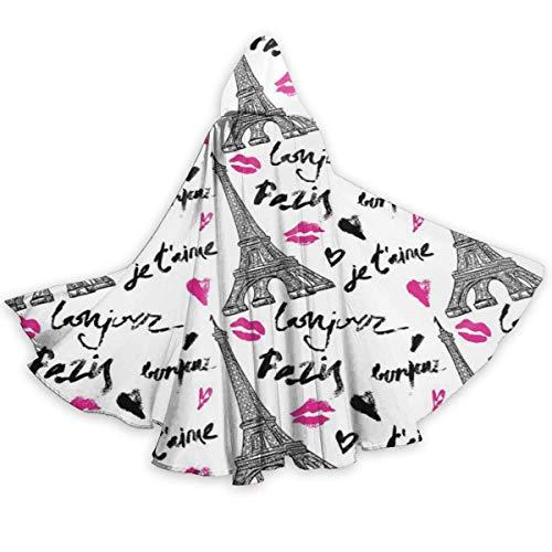 Zome Lag Capa De Capa para Adultos Torre Eiffel De Pars con Lpiz Labial Kiss Unisex Navidad Halloween Fiesta De Brujas Capa con Capucha Disfraces