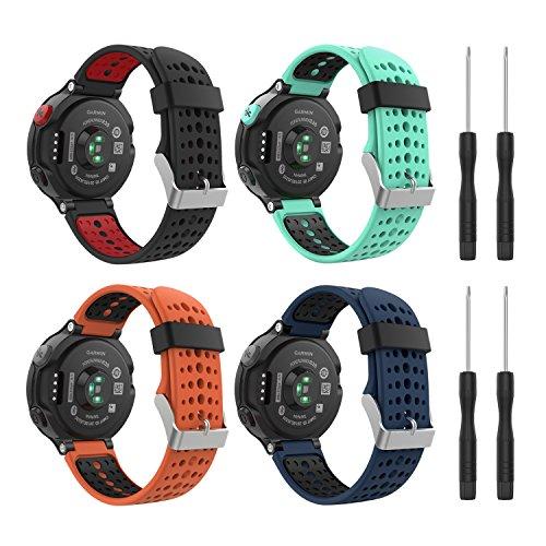 MoKo (4PCS) Correa para Garmin Forerunner 235, 4 Piezas de Banda de Reemplazo de Suave Silicona para Garmin Forerunner 235/220 / 230/620 / 630/735 Smart Watch, Multicolcor B