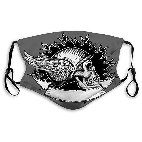 Na Mundmaske Gesichtsschutz Wiederverwendbare Außenmasken Retro Motorrad Biker Schädel Emblem Helm wi