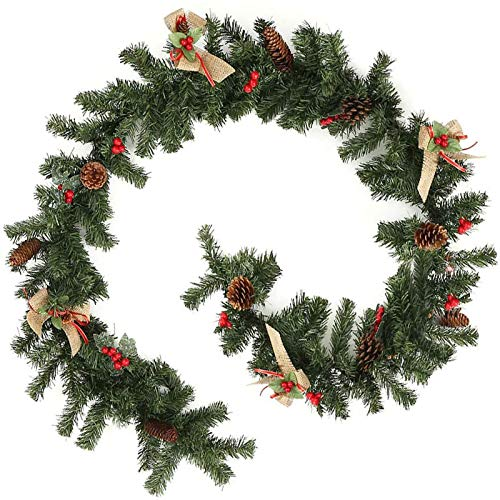6FT/1.8M Christmas Garlands with Red Berries Pine Cones Burlap Bowknots Green Artificial Wreath,Xmas Festive Decors for Stairs Fireplaces