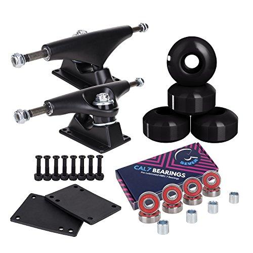 Cal 7 Skateboard-Achsen, 52 mm Räder, plus Kugellager, Kombi-Set (schwarzer Truck mit schwarzen Rädern)