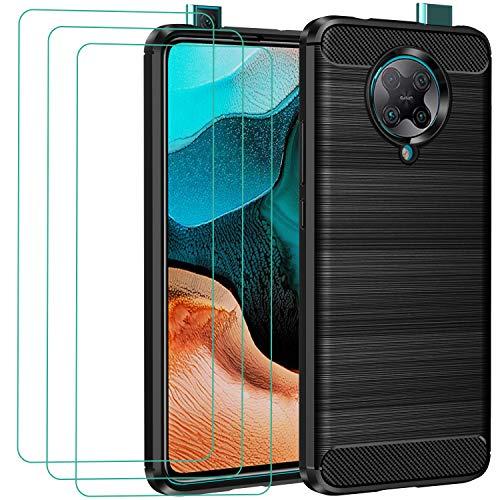 ivoler Hülle für Xiaomi Poco F2 Pro mit 3 Panzerglas Schutzfolie, Schwarz Stylisch Karbon Design Anti-Kratzer Handyhülle Stoßfest Schutzhülle Cover Weiche TPU Silikon Hülle
