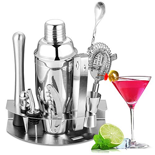 Velaze Coctelera Coctéles Juego, Set Cocktail Shaker Kit Profesional para Barman, Juego 10 Piezas Accesorios de Cóctel de Acero Inoxidable SUS304 para Martini Gin Tonic Mojito - Plata (850 ml)