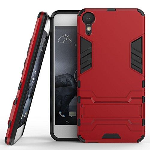 Hülle für HTC Desire 10 Lifestyle (5,5 Zoll) 2 in 1 Hybrid Dual Layer Shell Armor Schutzhülle mit Standfunktion Hülle (Rot)
