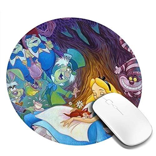 Alice in Wonderland Mousepad Computer Mouse Mat Round for Men Women Gifts 20 cm 1 Pcs