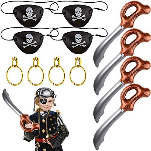 PERFETSELL Piraten Zubehör Set, Piraten Party Mitgebsel Augenklappe Piraten Piratenohrring Ohrringe Set Aufblasbares Schwert Kindergeburtstag Piratenzubehör Kostüm für Jungen Karneval