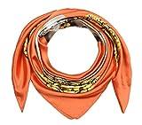 Large Square Satin Silk Like Lightweight Scarfs Hair Sleeping Wraps for Women Tangelo Orange Pearl Pendant Pattern