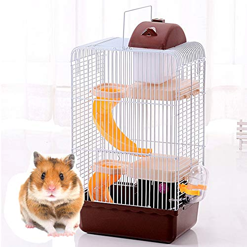 Hamster Habitat Cage Three Storey Animal Hideout Wood Toys Games with Exercise Wheel Water Bottle Dishes,Brown