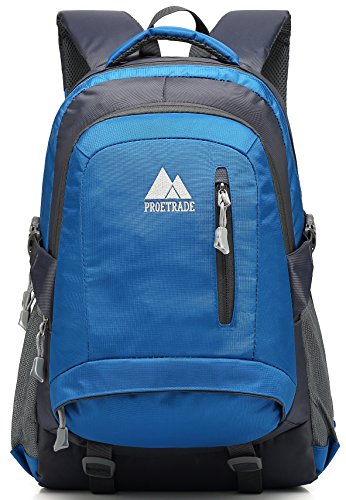 School Backpack BookBag For Student College Travel Hiking Fit Laptop Up to 15.6 Inch (Blue)