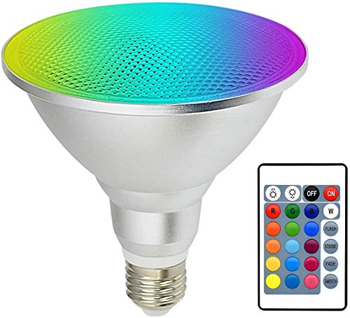 LED PAR38 Spotlight RGB 30W Flood Light Bulb Color Changing Light Bulb E26 Screw, Kuniwa Dimmable Outdoor Floodlight Lawn Decoration with Remote Control, IP65 Waterproof, RGB+Warm White