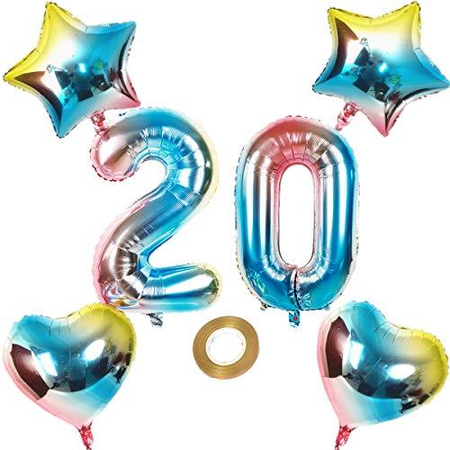 Globos con número 20, número 20, arco iris 20, 80 cm, XL para niñas, niños, hinchables, forma de corazón, helio, estrella, globo, fiesta de cumpleaños