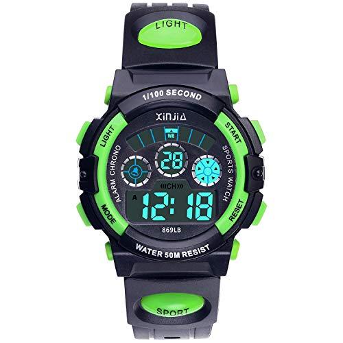 Kinder Digitaluhr, Jungen Mädchen 50M (5ATM) Wasserdicht 7 Farben LED Multifunktions Sport Outdoor Armbanduhren mit Alarm(Schwarz-Grün)