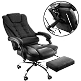 BananaB Reclining Executive Chair Chefsessel PU Leder High Back Bürostuhl Ergonomisches Design Büro Liegesessel mit Fußstütze 360 Grad Swivel Schwarz Computer Nickerchen Stuhl
