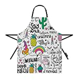 Moslion Rainbow Aprons Unicorn Pineapple Cactus Mermaid Heart Creative Colorful Art Drawing Waterproof Resistant Chef Cooking Kitchen BBQ Adjustable Aprons for Women Men 27x31 Inch