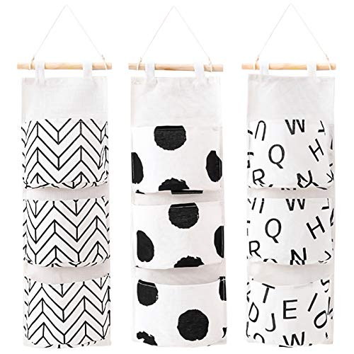 AUHOKY 3Pcs Wall Closet Hanging Storage Bag, Premium Linen Fabric Over The Door Organizer, Hanging Storage Pouches with 3 Pockets for Bedroom Bathroom - Waterproof & Stylish (Upgrade Style)