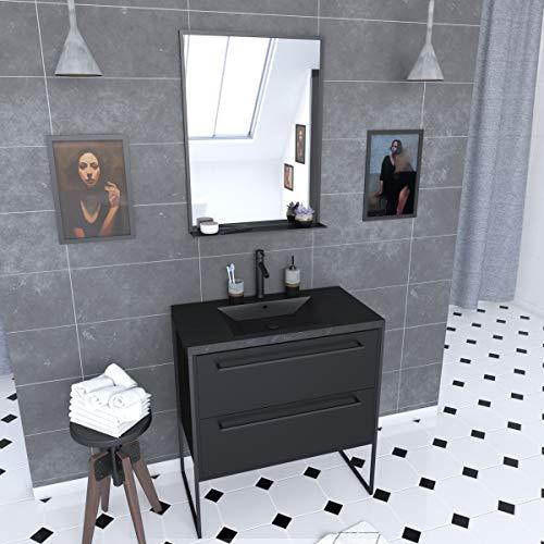 Aurlane PACM062 - Mueble de baño, color negro