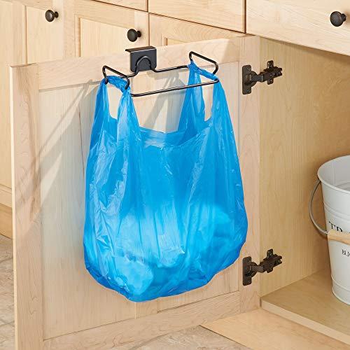 iDesign 34111 Classico Steel Over the Cabinet Plastic Bag Holder for Kitchen, Pantry, Bathroom, Dorm Room, Office, Bronze