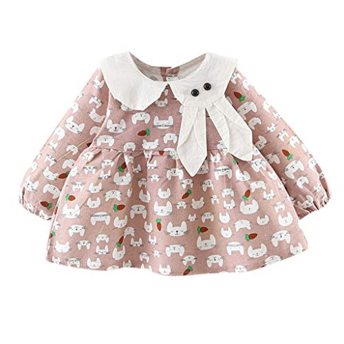 Zylione MäDchen Kleiden LangäRmeliges Puppen Kragen Karikatur Kaninchen Druckrock Prinzessin Kleid des Babys Der Kinder