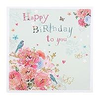 特徴的な誕生日カード「花と蝶」 - 小さな広場