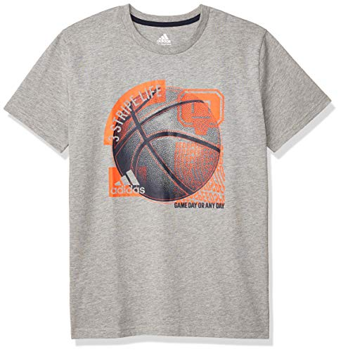 adidas Boys' Big Kids Short Sleeve Cotton Jersey Graphic T-Shirt, Sport Collage Grey Heather, L (14/16)