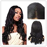 JYL Hair 13X5 Lace Front Wig Pre_Plucked Hairline Bleached Knots Brazilian Virgin Hair Loose Wave Human Hair Lace Wigs Glueless 150% Density (10'' silk top, 5'' Lace Front Cap)