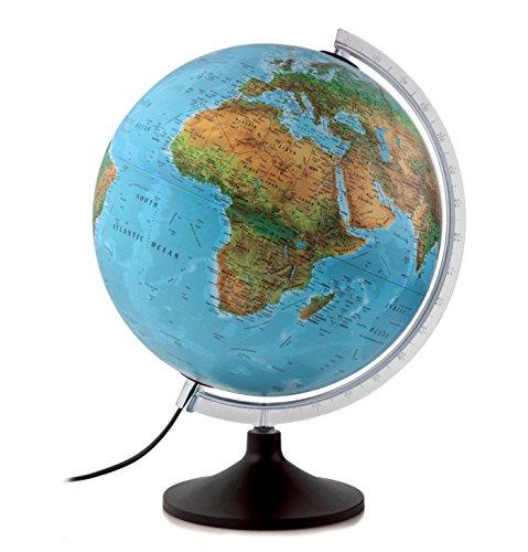 Globo terráqueo Solid B. Esfera azul, plástico, 30 cm, castellano, iluminada. Atmosphere.