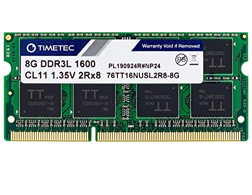 Timetec Hynix IC 8GB DDR3L 1600MHz PC3-12800 Unbuffered Non-ECC 1.35V CL11 2Rx8 Dual Rank 204 Pin SODIMM Portatil Memoria Principal Module Upgrade (8GB)