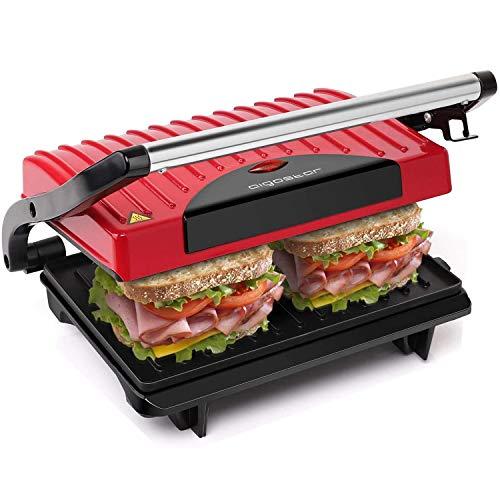 Sandwichmaker,Panini Grill 700W Leistung, Cool-Touch-Griff, antihaftbeschichtete Platten BPA-frei, rot und schwarz