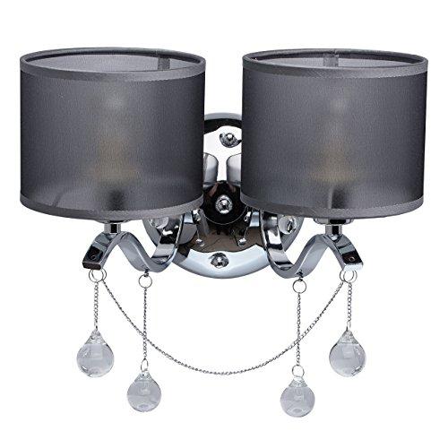 MW-Light 379029302 Jugendstil Wandleuchte Modern Chrom Metall Silber mit Kristall Klar Grau Textilschirme 2 Flammig x 40W E14