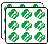 Green Girl Scouts Logo Shaped (America Insignia Love My Faces) Sticker for Scrapbooking, Calendars, Arts, Album, Bullet Journals 2' 18 Pack
