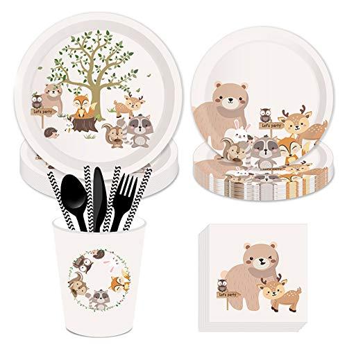 DreamJing Juego de vajilla para fiesta de 93 piezas, diseño de animales de la selva, ardilla, zorro, oso marrón, conejo, vajilla de cumpleaños para 8 personas