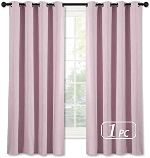 NICETOWN Blackout Room Darkening Curtain Panel - (Baby Pink/Lavender Pink Color) Home Decoration Thermal Insulated Light Reducing Drapery/Drape for Girl's Room, 52Wx63L, 1 Panel