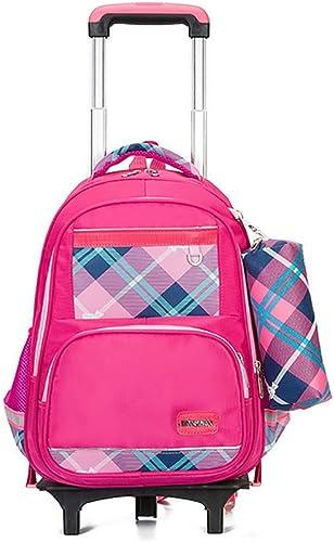 Des Gamins éléHommestaire Rouler Les Sacs à Dos Nylon Imperméable sacage Six Roues Trolley Sacs d'école pour Et école et Voyage