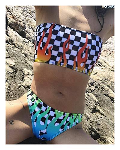 nobrand Bikini IBHT Bra Reiz Kariertes farbige Flamme Druck Bikini Badeanzug Split 1 (Color : White, Size : L)