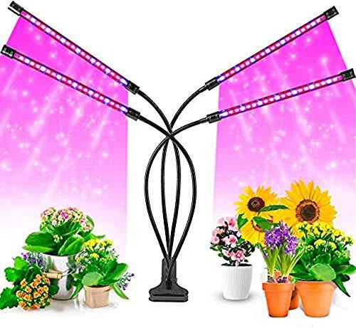 ZJDM Bombilla LED de 80W con luz de Crecimiento de Plantas de Interior con Temporizador de 3/9/12 Horas, 9 Niveles Regulables y 3 interruptores, Espectro Completo de Modo Rojo y Azul