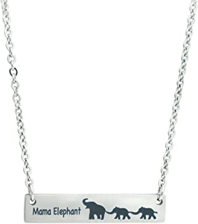 Meibai Mama Elephant Necklace Gift for Mom Grandmother Stainless Steel Personalized Bar Necklace for Family