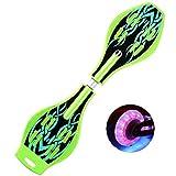 QAZXS Skateboard Waveboard Snake Board Testa Girevole con Marsupio e Ruote a LED Skateboard a Due Ruote-Vulcan Verde