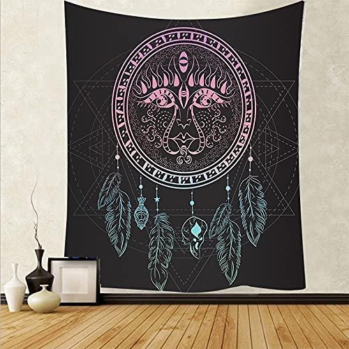 Pluma psicodélica colgante de pared arte tapiz de tela de pared alfombra de fondo estera de yoga tapiz de tela de fondo A19 73x95cm