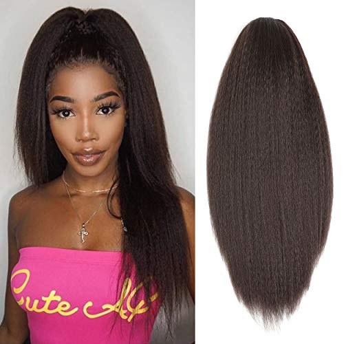 Dark Brown Synthetic Kinky Straight Ponytail Extension