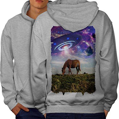 wellcoda Pferd UFO Raum Tier Männer Kapuzenpullover Pferd Aufdruck auf Rückseite