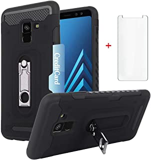 Phone Case for Samsung Galaxy A8 Plus 2018 with Tempered Glass Screen Protector Cover and Slim Hard Wallet Credit Card Holder Slot Stand Kickstand Cell Accessories Glaxay A8+ Gaxaly A8plus Cases Black