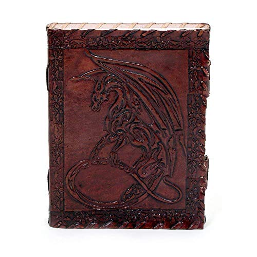 Genuine Handmade Vintage Leather Bound Journal with Lock For Men Women Blank Pages Dragon S
